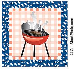 4 juillet, barbecue, fond
