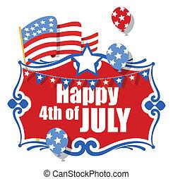 4 juillet, fond, heureux