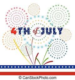 4 juillet, jour, indépendance, heureux