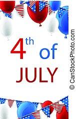 4 julho, balloons., fundo