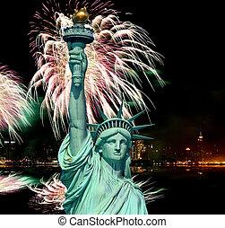 4 julio, fuegos artificiales, nyc