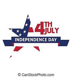 4 julio, independencia, banner., día