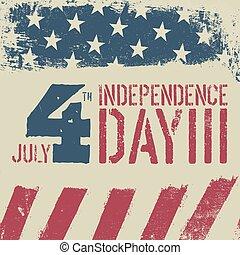 4 julio, independencia, day., grunge, bandera estadounidense, fondo., patriótico, vendimia, diseño, template.