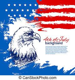 4 julio, plano de fondo, con, norteamericano, flag., día de independencia, vendimia, mano, dibujado, diseño