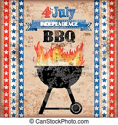 4 July Barbecue Vintage - 4 july barbecue with fire on the...
