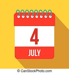 4 July Calendar, Independence Day USA flat icon