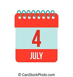 4 July Calendar, Independence Day USA icon