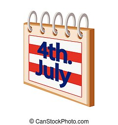 4 July Calendar,Independence Day USA cartoon icon