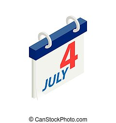 4 July Calendar,Independence Day USA icon