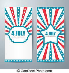 4 july card template design. Vector