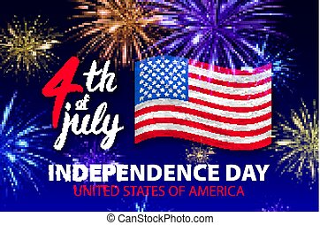 4 july Fireworks background for Independence Day vector