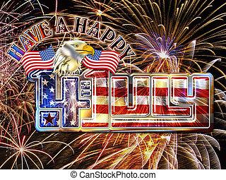 4 July Fireworks eagle