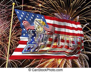 4 July Fireworks Flag e