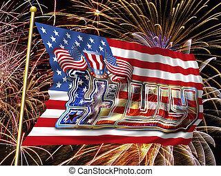 4 July Fireworks Flag h