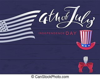 4 July Independence Day. Handwritten calligraphy text and...