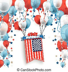 4 July Ribbon Balloons Big US-Flag