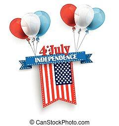 4 July Ribbon Balloons US-Flag