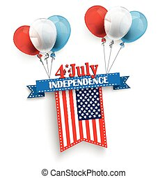 4 July Ribbon Balloons US-Flag