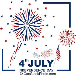 4 july USA independence day design on white background...