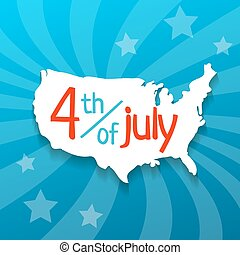 4 july vector illustration - Hand drawn USA map with shadow...