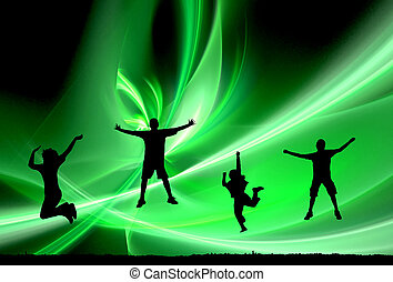 4 jumping silhouettes - four people jumping silhouettes...