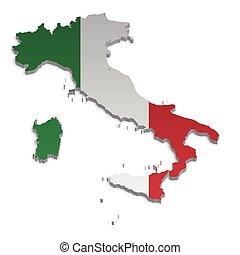 4, kaart, italië
