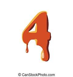 4, karamell szín, szám, ikon