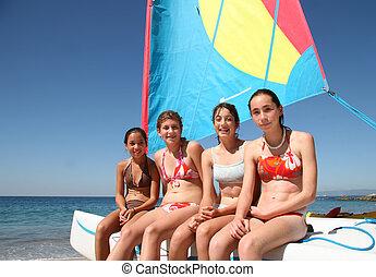 4 lány, csónakázik