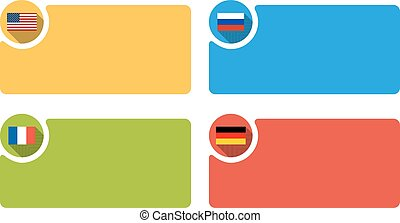 4 labels with flag of USA, Russia, France and Germany, infographic template