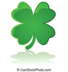 Glossy illustration showing a four leaf clover reflected on a white surface