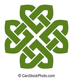 4-leaf, jetel, keltský pisátko, chomáč