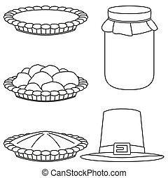 4 line art black and white fall harvest elements