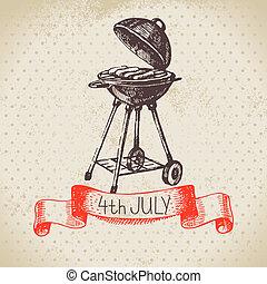 4 lipca, rocznik wina, tło., dzień niezależności, od, ameryka, ręka, pociągnięty, rys, projektować
