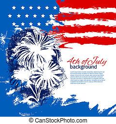 4 lipca, tło, z, amerykanka, flag., dzień niezależności, rocznik wina, ręka, pociągnięty, rys, projektować
