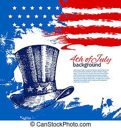 4 lipca, tło, z, amerykanka, flag., dzień niezależności, rocznik wina, ręka, pociągnięty, projektować