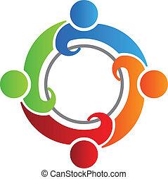 4, logotipo, equipo, vector, reunión