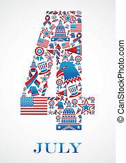 4 luglio, giorno, indipendenza, icone