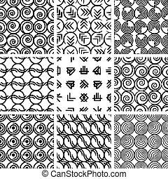 4, mönster, geometrisk, sätta,  seamless
