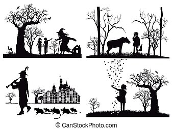 4 Maerchen.eps - Fairy tales, Hansel and Gretel, Little Red...