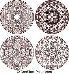 4 mandala stroke set - vector set of 4 mandalas in stroke