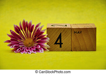 4 May on wooden blocks with a pink and white aster on a yellow background