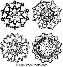 4 Medallions - set of 4 hand-drawn, stylised medallion...