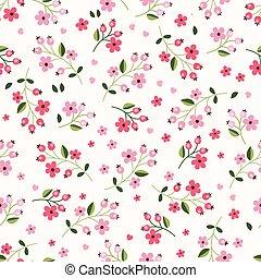 4, modèle, seamless, floral