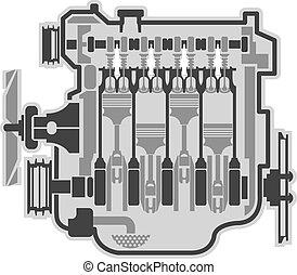 4, motore, cilindro