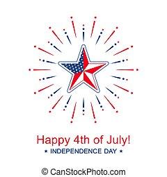 4, niezależność, bandera, wektor, colors., dzień, gwiazda, szczęśliwy, chorągiew, krajowy, lipiec