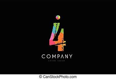 4 number grunge color rainbow numeral digit logo