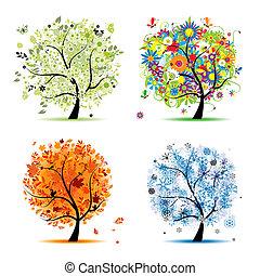 4 období, -, pramen, léto, podzim, winter., umění, strom, překrásný, jako, tvůj, design