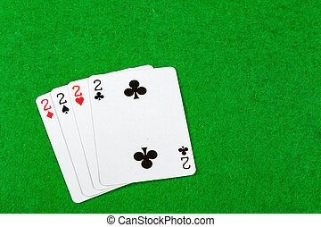 4 of a kind playing cards Twos