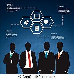 4 options concept for Businessman
