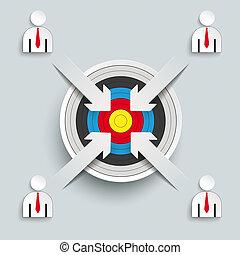 4 Paper Cut Arrows Target Business